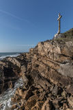 Great cross facing the sea Royalty Free Stock Images