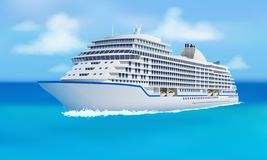 Great cruise liner, ocean, blue sky in flat style. Cruise, family vacation holiday summer luxury. Vector illustration stock illustration