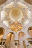 Great Crystal Chandelier at the Ceiling of Sheikh Zayed Mosque, The Great Marble Grand Mosque at Abu Dhabi, UAE Royalty Free Stock Photos