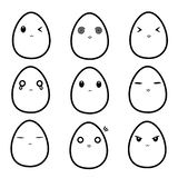 Cute Boiled-Egg Line Art Facial Expression Cartoon Character stock illustration