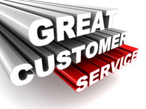 Great customer service. Words on white, concept of an exciting experience for customers Stock Photography