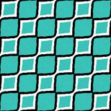 Great cyan and white and black diagonal lines striped flat design pattern seamless wallpaper Stock Photography