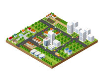 Great 3D metropolis. 3D isometric city landscape of skyscrapers, houses, gardens and streets in a three-dimensional top view Royalty Free Stock Photo