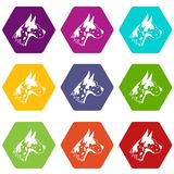 Great dane dog icon set color hexahedron. Great dane dog icon set many color hexahedron isolated on white vector illustration Stock Image