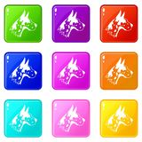 Great dane dog icons 9 set. Great dane dog icons of 9 color set isolated vector illustration Royalty Free Stock Photos