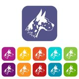 Great dane dog icons set. Vector illustration in flat style In colors red, blue, green and other Stock Image