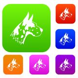 Great dane dog set collection. Great dane dog set icon in different colors isolated vector illustration. Premium collection Stock Image