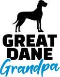Great Dane Grandpa. Silhouette black stock illustration