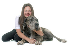 Great Dane and teenager Stock Photo