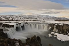 The great day Godafoss waterfall in Iceland Royalty Free Stock Photography