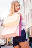 Great day for shopping. Royalty Free Stock Photography