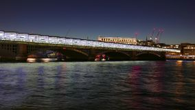 Great day to night Time-Lapse-shot of new Blackfriars station over River Thames in 4k stock video footage