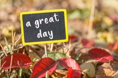 A great day sign. A great day wooden black sign in autumn leaves , motivation concept royalty free stock photos