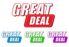 Great deal, four colors labels Royalty Free Stock Images
