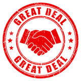 Great deal handshake rubber stamp Stock Image