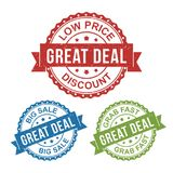 Great deal, low price, big sale, vector badge label stamp tag for product, marketing selling online shop or web e-commerce stock illustration