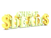 Great deal word lettering with dollar signs Stock Images