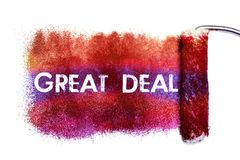 The great deal word painting. Color full on white paper by roll painter,isolated Stock Image