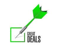 Great deals check dart sign concept Royalty Free Stock Photo