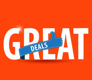 Great Deals Colorful Vector Icon Design with thumbs up sign Royalty Free Stock Photo
