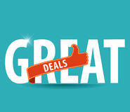 Great Deals Colorful Vector Icon Design with thumbs up sign Royalty Free Stock Photography