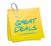 Great deals memo post sign concept Stock Image