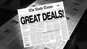 Great Deals! - Newspaper Headline (Intro + Loops) stock video footage