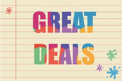 Great deals written on a piece of paper Stock Photography