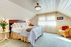 Great design idea for vaulted ceiling bedroom Stock Photo