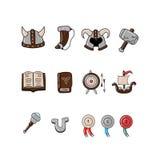 Great designed cartoon viking icons Stock Images