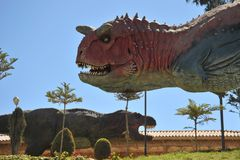Great dinosaur Park, where traces of these ancient reptiles Royalty Free Stock Images