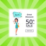 Great Discount 50 Off Shop Now Poster with Woman. Thinking about sales, dressed in blue gown. Speech bubble with color stars vector illustration Royalty Free Stock Photos