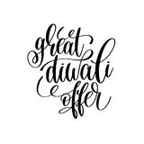 Great diwali offer black calligraphy hand lettering text Royalty Free Stock Images