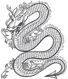 Great Dragon. Great black and white Dragon, vector illustration Stock Image
