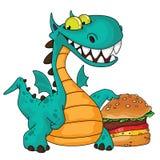 Great Dragon And Burger Stock Photo
