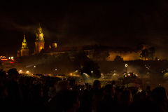 Great Dragons Parade connected with the fireworks. KRAKOW, POLAND - JUNE 4, 2016: Yearly Great Dragons Parade connected with the fireworks display, taking place Stock Photography