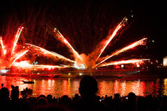 Great Dragons Parade connected with the fireworks. KRAKOW, POLAND - JUNE 4, 2016: Yearly Great Dragons Parade connected with the fireworks display, taking place Stock Photos