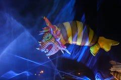 Great Dragons Parade. KRAKOW, POLAND - MAY 30, 2015: Yearly Great Dragons Parade connected with the fireworks display, taking place  on the river Vistula at Stock Photos