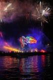 Great Dragons Parade. KRAKOW, POLAND - MAY 30, 2015: Yearly Great Dragons Parade connected with the fireworks display, taking place on the river Vistula at Wawel Royalty Free Stock Photography