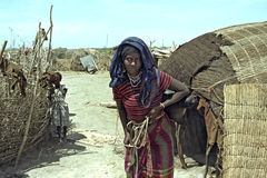 Great drought for Ethiopian Afar in Danakil desert. Ethiopia, Afar region: The Afar, an ethnic group of semi-nomadic cattle farmers in the vicinity of the ` Stock Photo