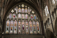 Great east window of Exeter Cathedral 14th century stock images
