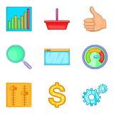 Great effort icons set, cartoon style. Great effort icons set. Cartoon set of 9 great effort vector icons for web isolated on white background Royalty Free Stock Image