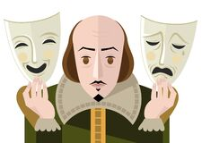 Free Great English Playwright With Theater Sad And Happy Masks Stock Photo - 188236500