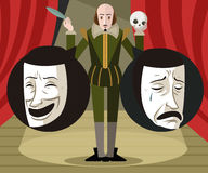Great english writer talking about theater comedy and drama masks Stock Photos