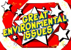 Great Environmental Issues - Comic book style words. vector illustration