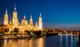 Great Evening View Of The Pilar Cathedral In Zaragoza. Spain Stock Images