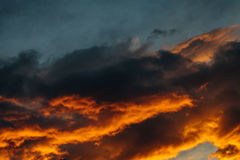 Great Evening view on orange sky,  sun setting on a row of subur Stock Photography