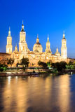 Great evening view of the Pilar Cathedral in Zaragoza Royalty Free Stock Image