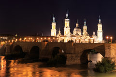 Great evening view of the Pilar Cathedral in Zaragoza Royalty Free Stock Images