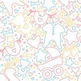 Baby seamless pattern. Detailed illustration. Hand drawn stock illustration